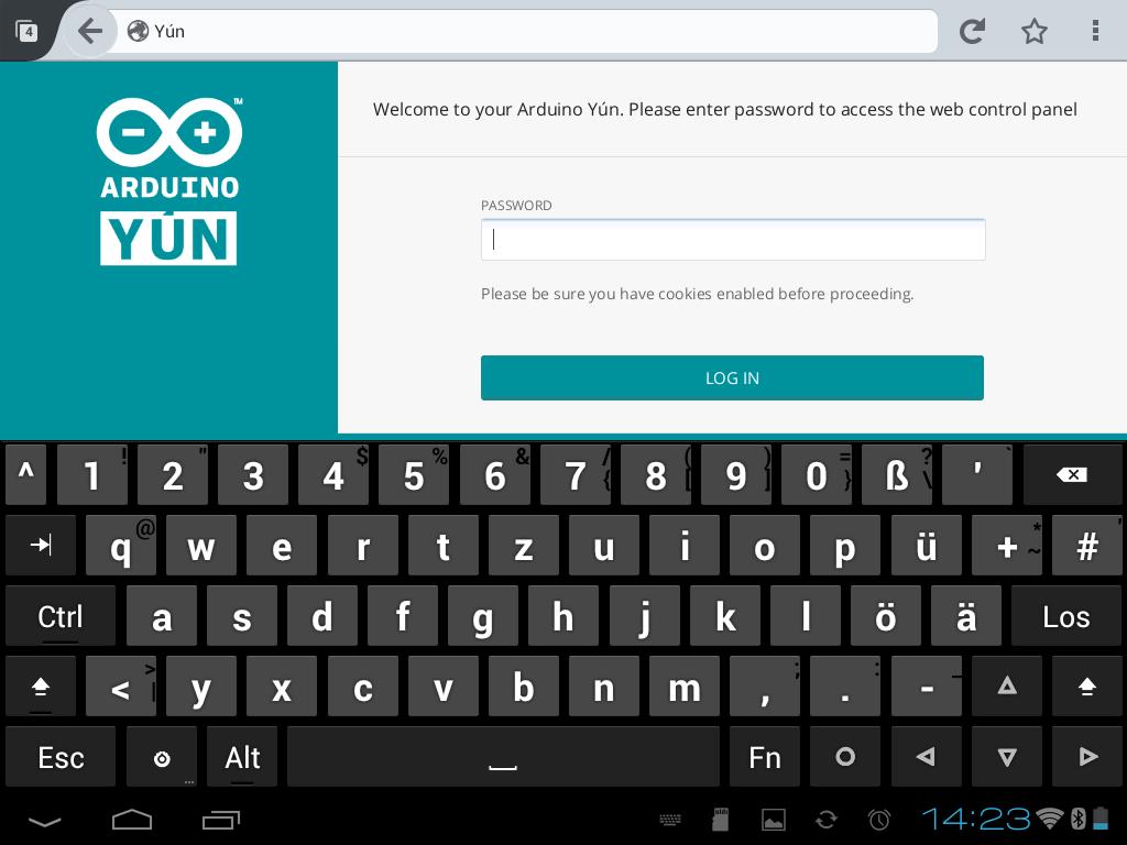 """Login ist unter 192.168.240.1 möglich, das Passwort lautet """"arduino"""""""