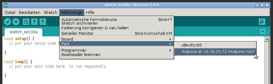 Ein Yún im aktuellen Netz kann direkt per Arduino-IDE mit Sketches versorgt werden