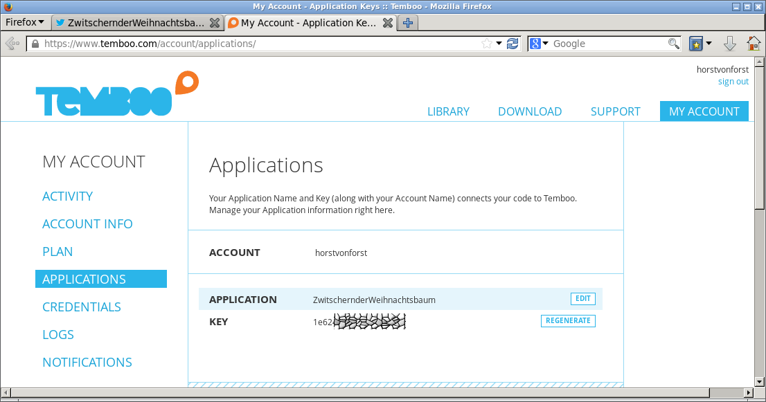 In Temboo sollte die App genauso heissen wie bei Twitter