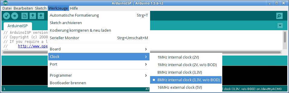 Submenü  für Spannungs- und Browout-Einstellungen in Arduino 1.5.
