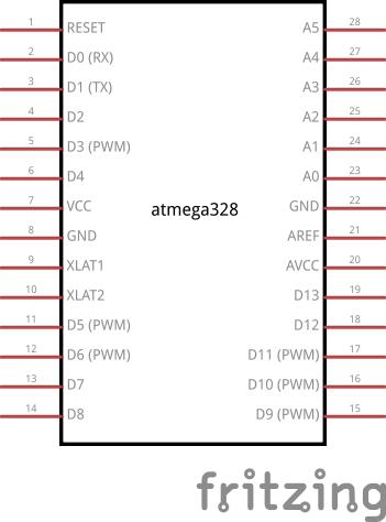 Mapping der Pins des Atmega328P auf Arduino-Bezeichnungen
