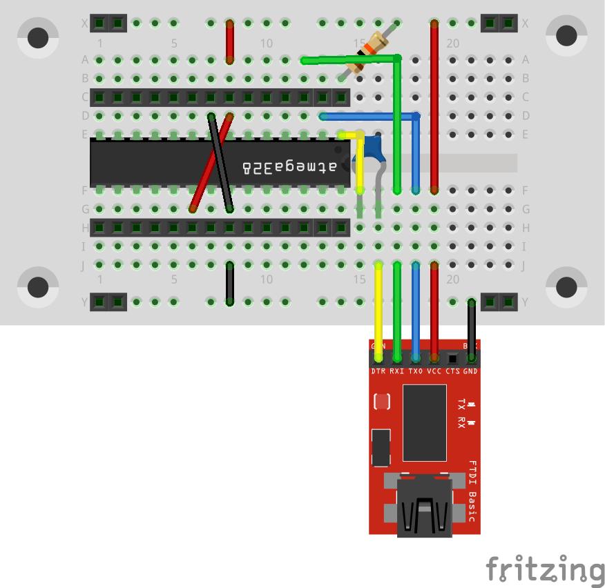 Ausgangspunkt ist das etwas aufgeräumte Arduino to Breadboard Modell - hier bereits mit Buchsenleisten.