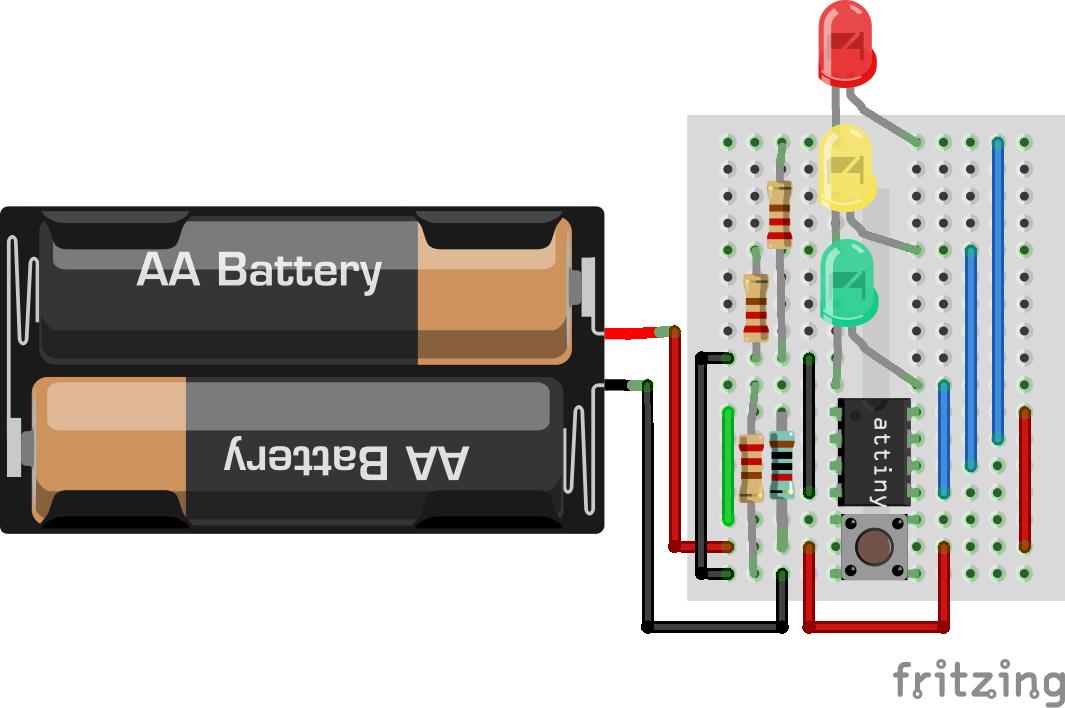 Aufbau von Emils Ampe: Der Taster zieht den Reset-Pin auf Masse.