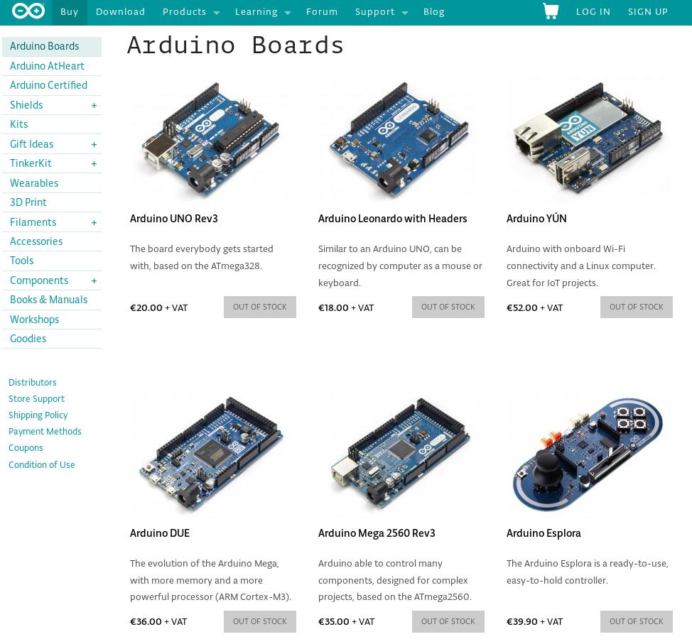 """""""Out of stock"""" - arduino.cc ordert derzeit wohl keine Platinen von """"Arduino S.R.L."""" nach"""