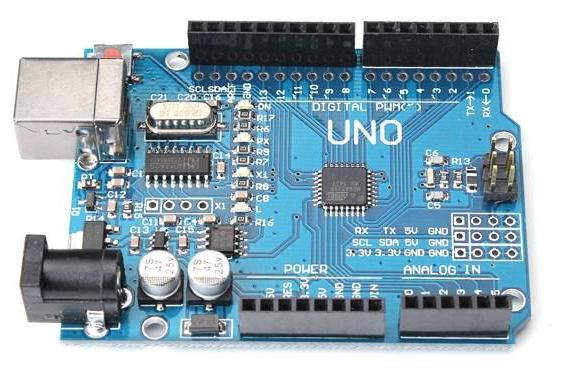 Ganz legal: Diese Platine heisst Uno und fügt Lötaugen hinzu, als USB-seriell-Konverter kommt CH341 von WCH zum Einsatz