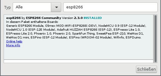 Installation der ESP8266-Unterstützung über der Boardverwalter von Arduino